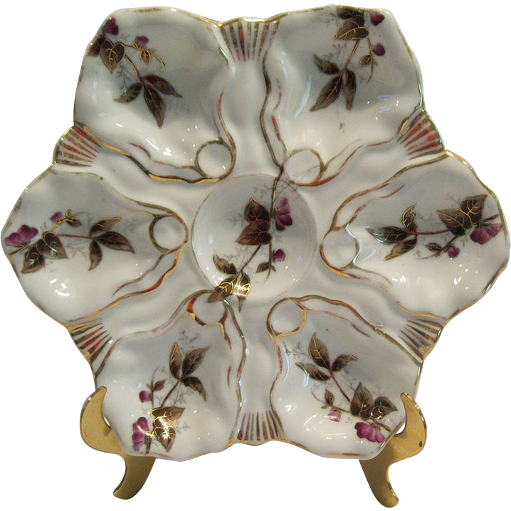 Antique Porcelain Oyster Plate With Purple Flowers