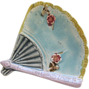 Fan Shaped Majolica Butter Pat By Eureka Pottery Co Trenton New Jersey