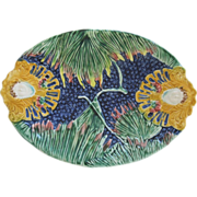 Majolica Cobalt Oval Platter With Ferns And Medallions