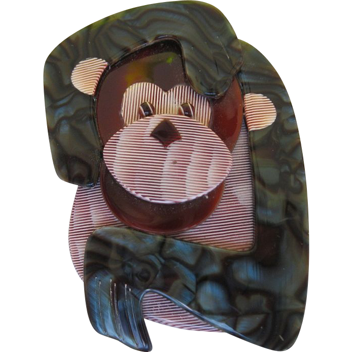 Saga The Monkey Pin By French Designer Lea Stein