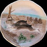 French Majolica Choisy Le Roi Bunny Rabbit Plate