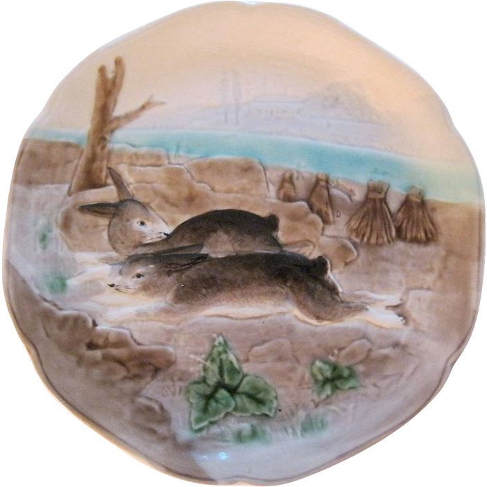 French Majolica Choisy Le Roi Bunny Rabbit Plate