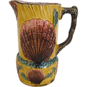 English Majolica Shell & Seaweed Pitcher