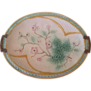 English Majolica Platter With Flowers Fern & Bow By Fielding