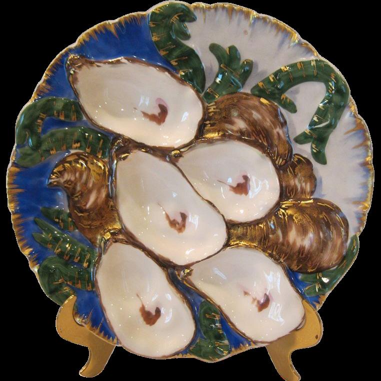 Antique Porcelain Turkey Oyster Plate By Haviland Limoges