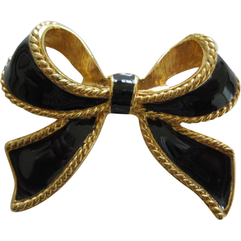 Kenneth J Lane Bolo Style Black Enamel Bow Pendant