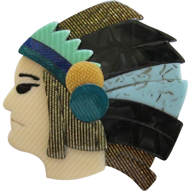 Native american Or Indian Head Pin by French Designer Lea Stein