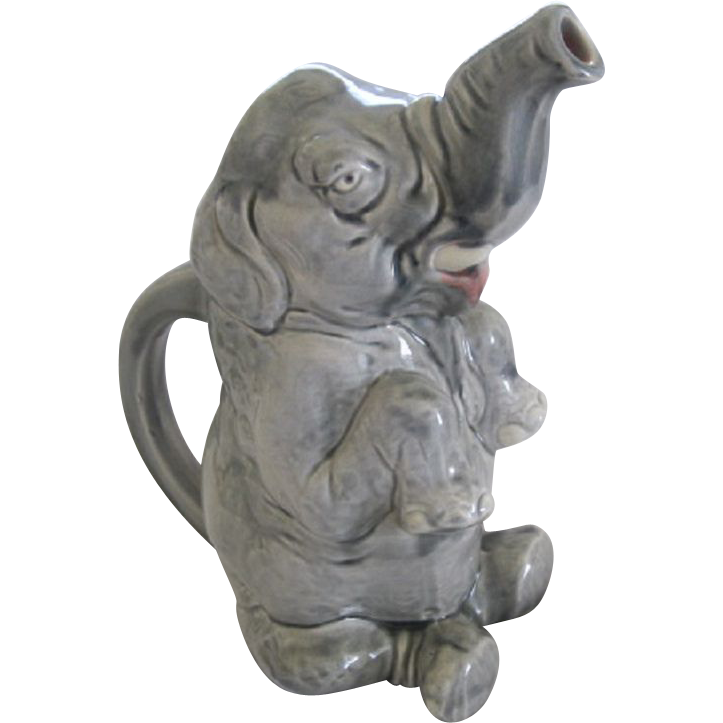 French Sarreguemines Majolica Figural Elephant Pitcher