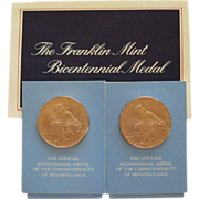 Pair Of Bronze Bicentennial Medal Of The Commonwealth Of Pa The Franklin Mint