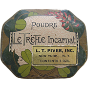 1920's Powder Box By L.T Piver Co. Paris France Le Trefle Incarnat
