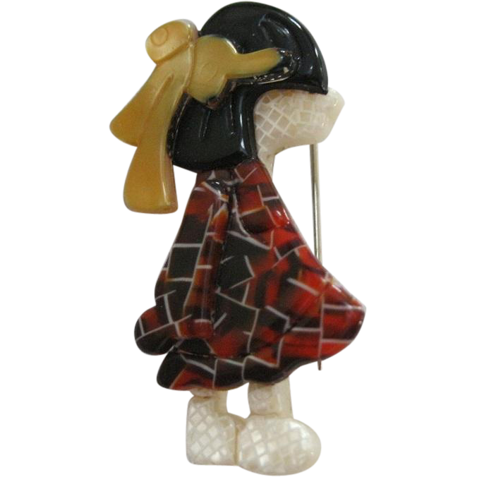 Poulbot Little Girl Pin With Bow By French Designer Lea Stein