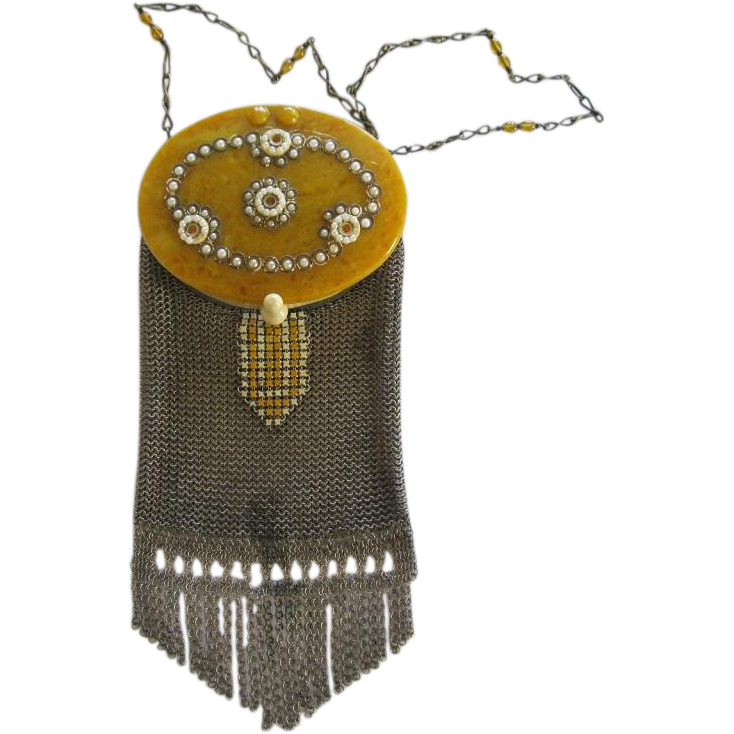 Victorian Mesh And Celluloid Purse with Mirror Insert
