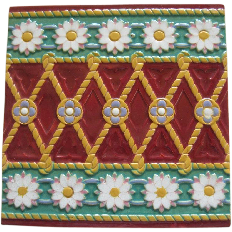 Beautiful Minton Majolica Stylized And Floral Tile