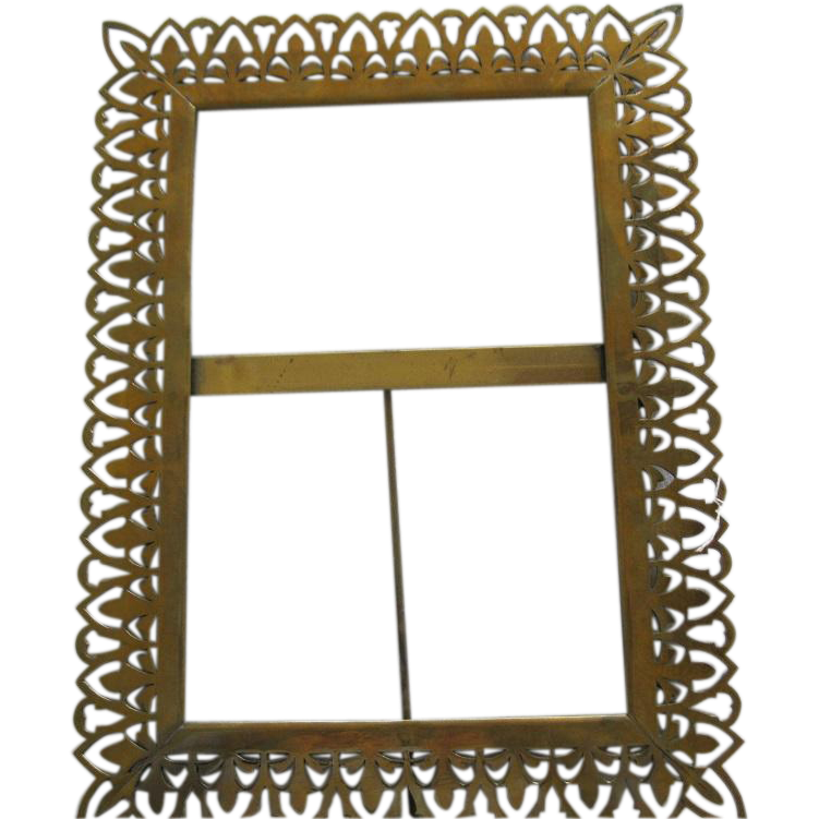 Large Victorian Brass Picture Frame.
