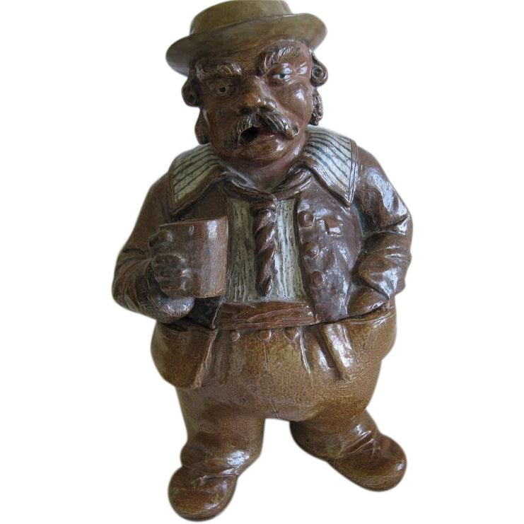 Large Antique Pottery Tobacco Jar Or Figural Humidor In the Shape Of A Very Big Man