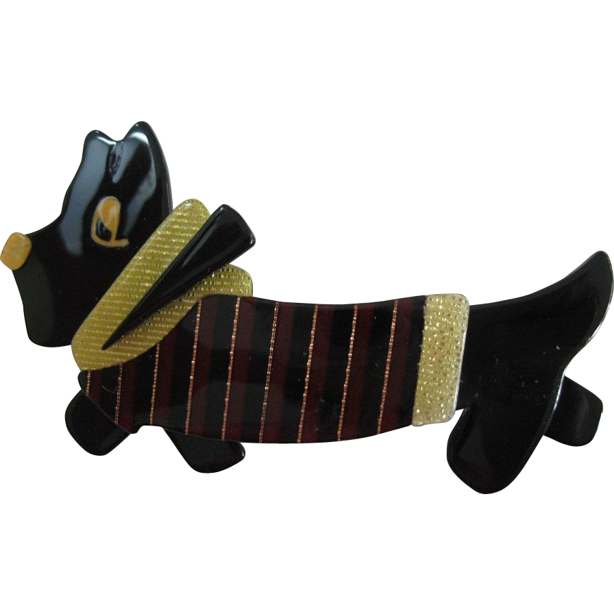 Terrier Dog With Sweater Pin By French Designer Lea Stein