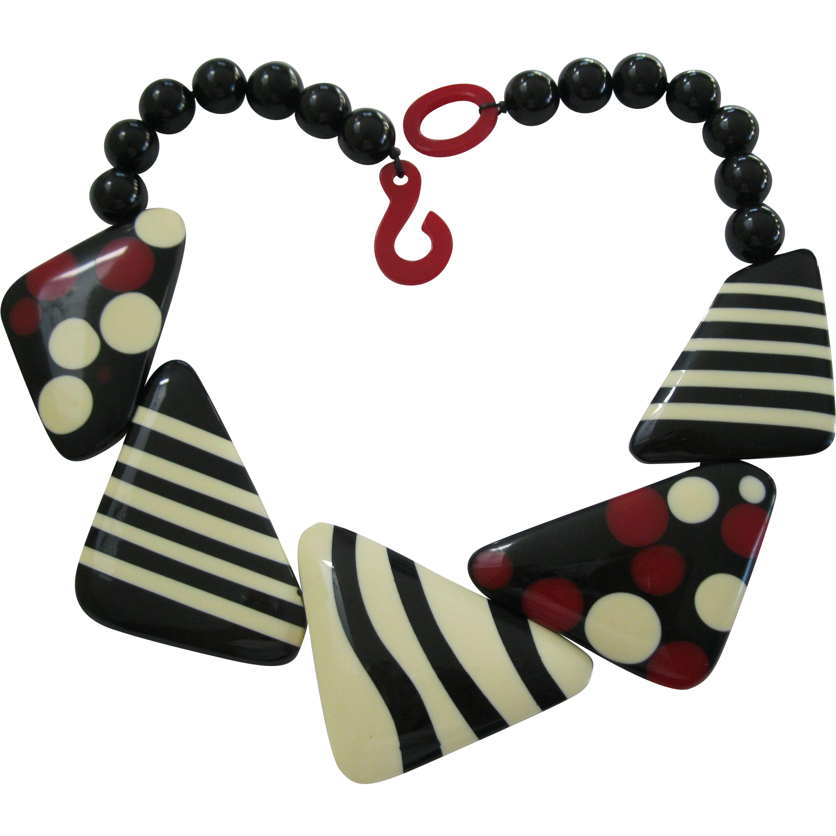 French Designed Deco Style Resin Necklace