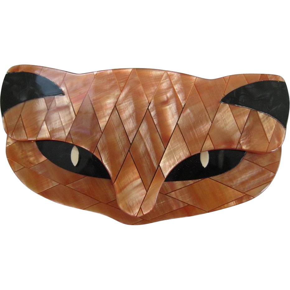 Romeo The Cat Head Pin By French Designer Lea Stein