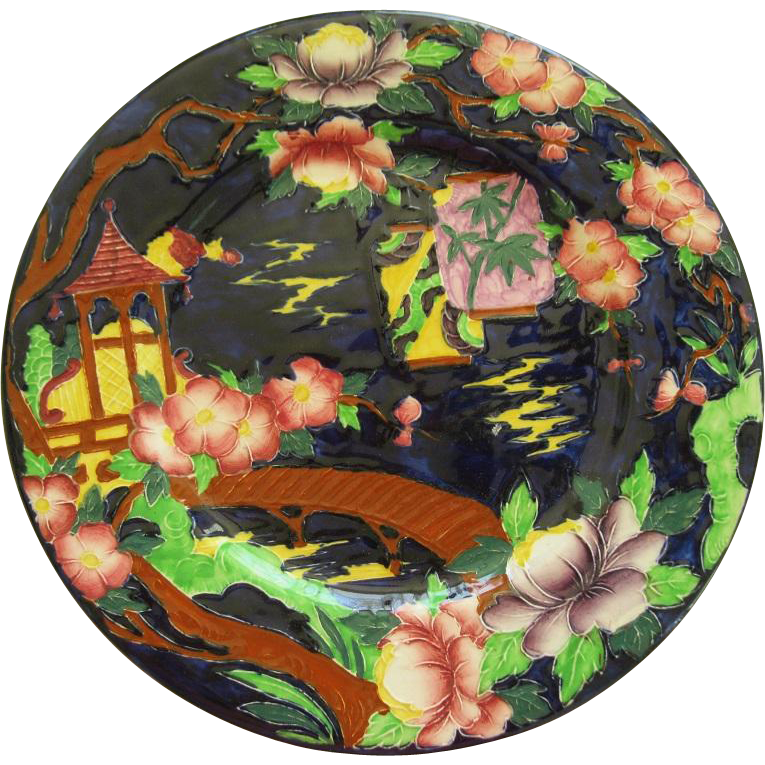English Maling Majolica Rack Plate In Oriental Design