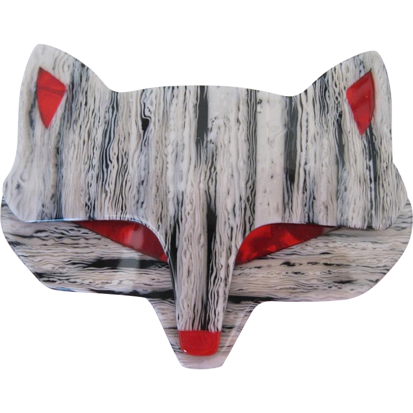Wolf Head Pin By French Designer Lea Stein