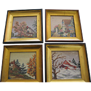 4 Needlepoint Pictures In Frames Of the 4 Seasons
