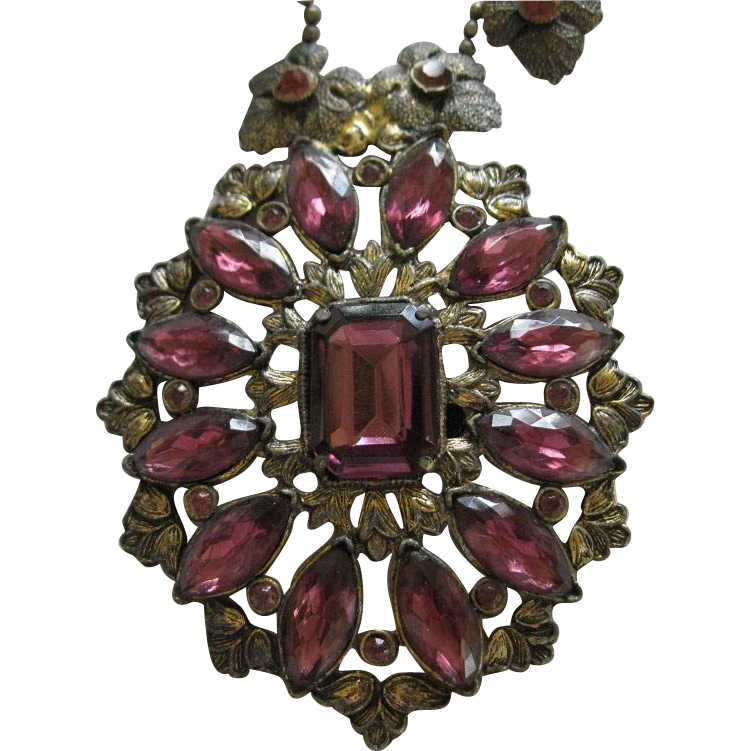 Victorian Amethyst Pendant Necklace By Singer Cohen Inc NYC