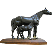 Vintage Hubley Cast Iron Pair Of Black Thoroughbred Horses On Platform