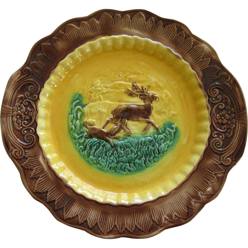 Antique Majolica Dog And Deer Platter By The Arsenal Factory Trenton New Jersey