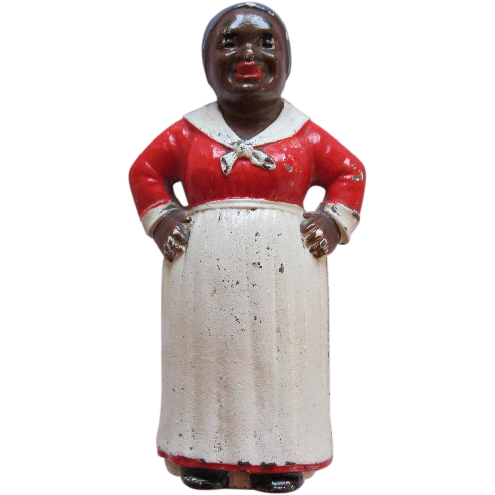 Vintage Hubley Cast Iron Aunt Jemima Or Black Mammy Still Bank