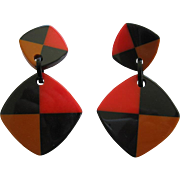 Pair Of French Designed Colorful Checkered Resin Clip Earrings