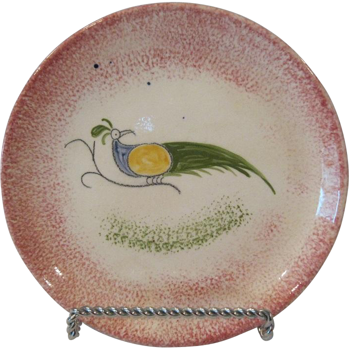 "19th Century Peafowl Spatterware 6"" Red Plate"