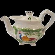 19th Century Peafowl Spatterware Small Teapot