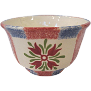 19th Century Spatterware Floral Blue & Red Waste Bowl