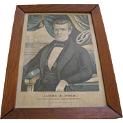 Original Framed Print By Currier & Ives Of James K Polk President Of The United States