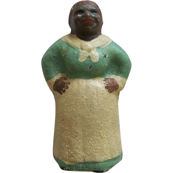 Antique Hubley Painted Cast Iron Mammy Or Aunt Jemima Paperweight