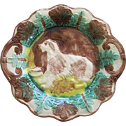 Antique Majolica Shaggy Dog Platter From American Arsenal Mfg Co
