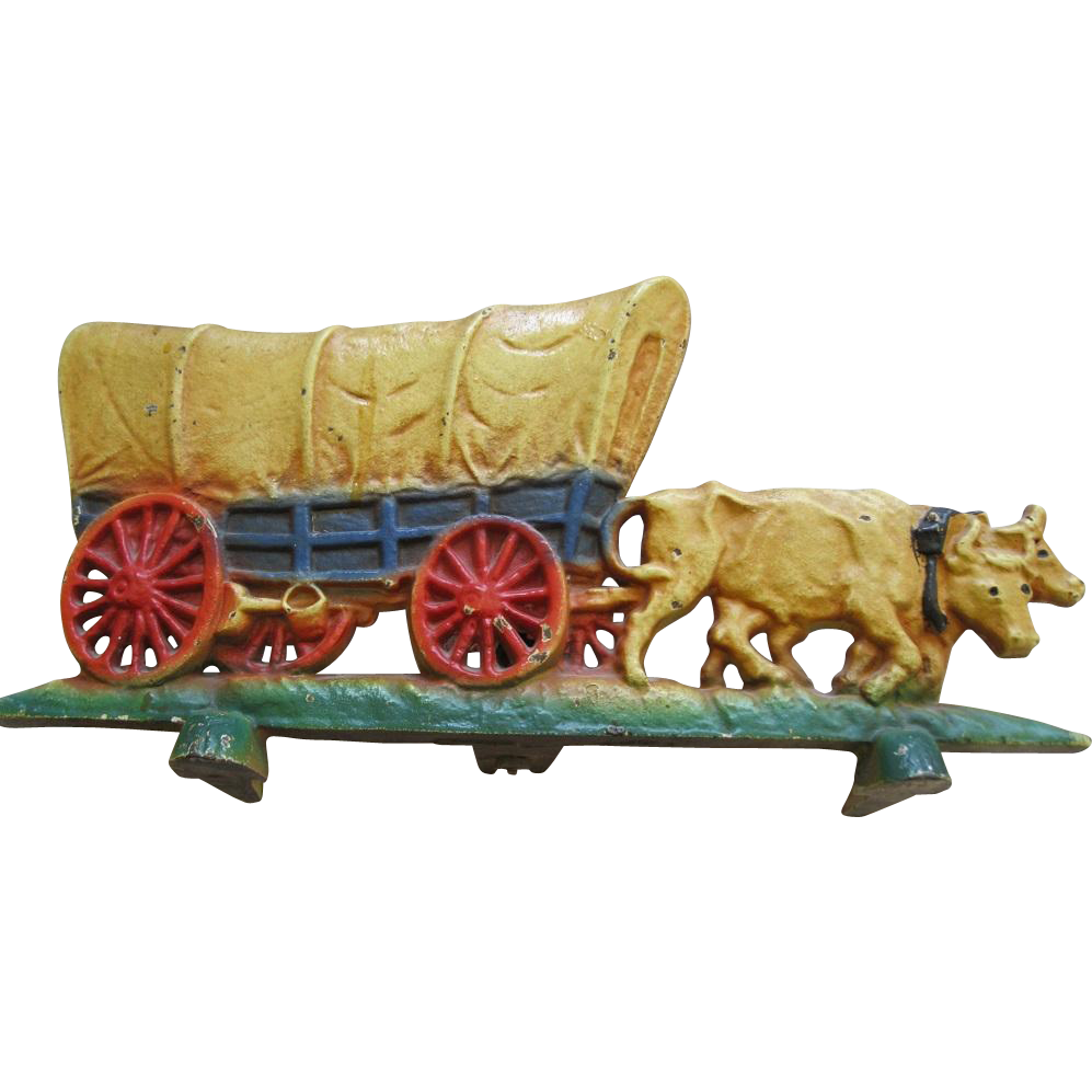 Antique Cast Iron Hubley Cast Iron Doorstop Covered Wagon And Oxen