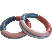 Pair Of French Designed Resin Stretch Bangle Bracelets