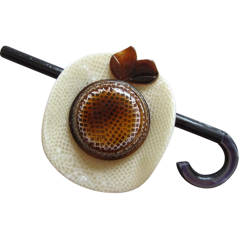 Hat With Cane Pin By French Designer Lea Stein