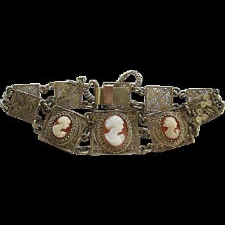 Vintage Silver Filigree With Cameo's Bracelet