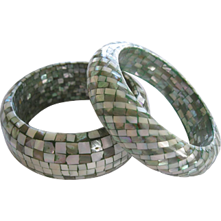 Pair of 1960's Mother Of Pearl Abalone Bangle Bracelets