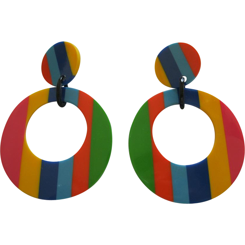 Pair Of French Designed Striped Resin Hoop Clip Earrings