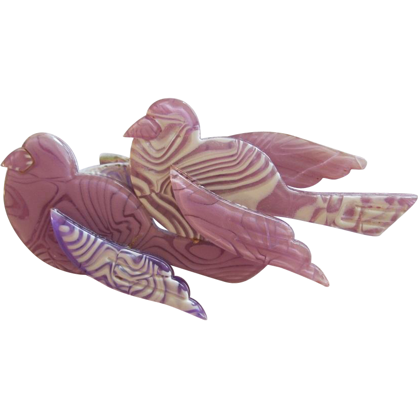 Double Sparrow Pin By French Designer Lea Stein