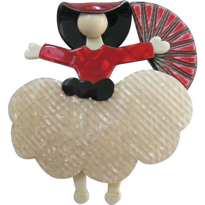 Scarlet Or Ballerina With Fan Pin By French Designer Lea Stein