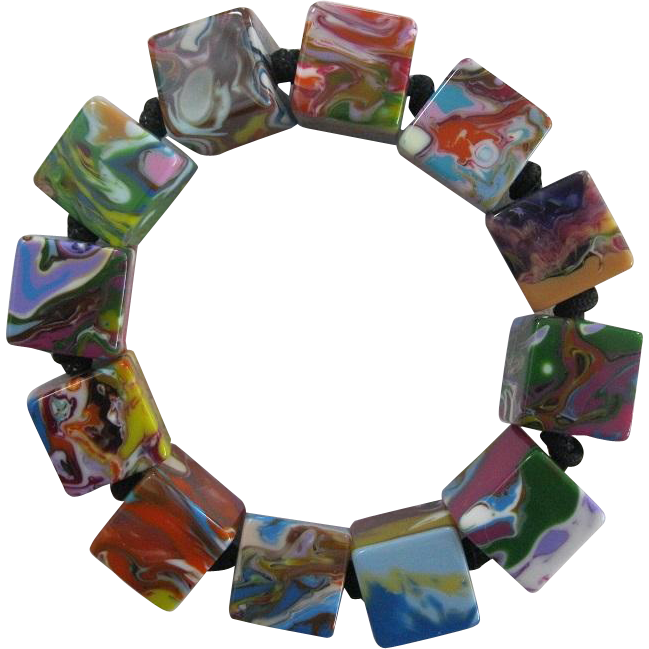 Carlos Sobral Brazil Resin Multi Colored Cube Stretch Bracelet