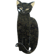 Quarrelsome The Sitting Cat Pin By French Designer Lea Stein