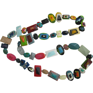 French Designed Long Chicklet Style Multi Colored Necklace