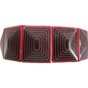 Colorful Geometric Stretch Bracelet By French Designer Lea Stein