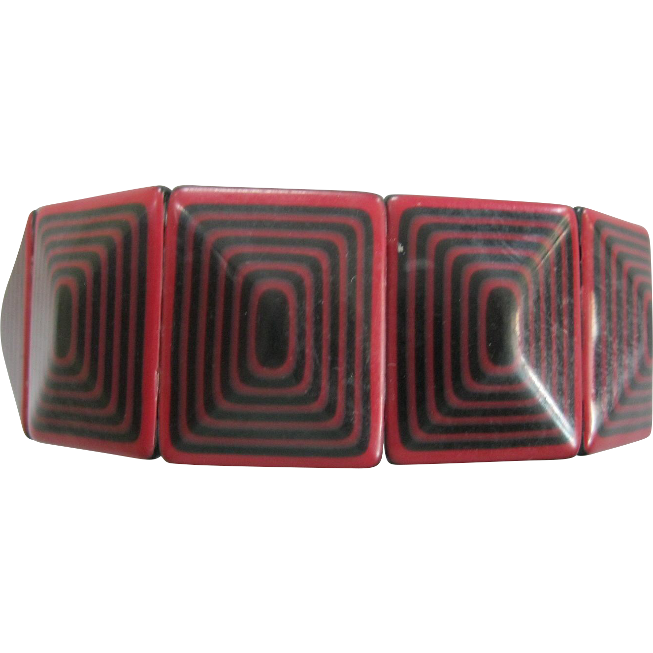 Colorful Geometric Stretch Bracelet By French Designer Lea Stein