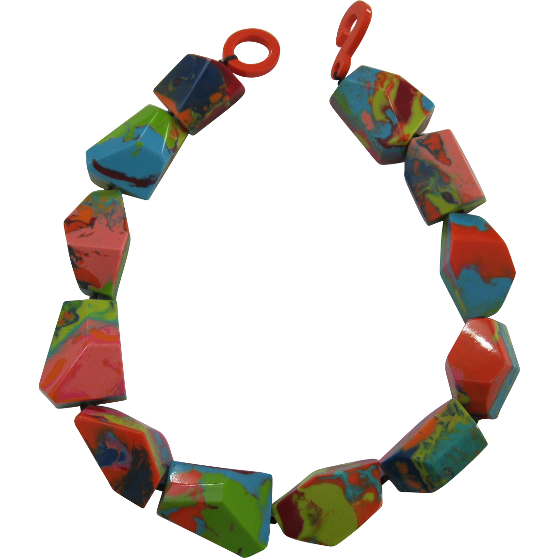 French Designed Chunky Resin Choker Necklace In Vibrant Multi Colors